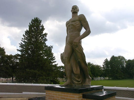 Sparty statue on the campus of Michigan State University