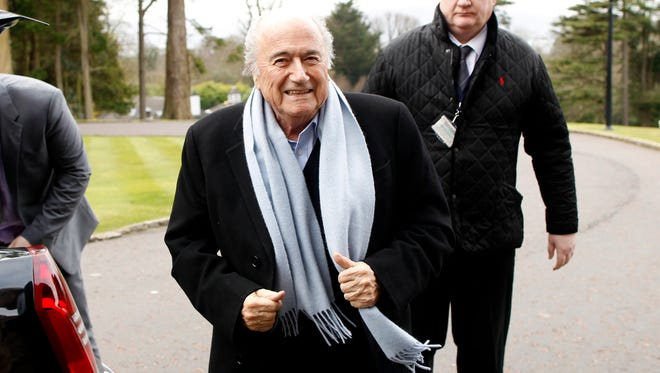 President of FIFA Sepp Blatter arrives at the Culloden Hotel, Belfast, Northern Ireland, Friday, Feb. 27, 2015.   Blatter arrived for the 129th annual general meeting of The International Football Association Board that is taking place Saturday.