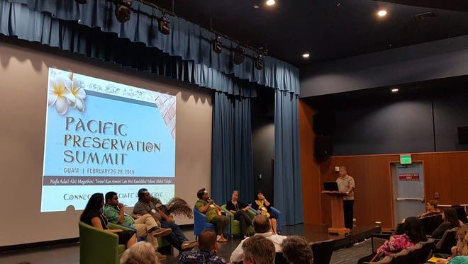 A panel at the Pacific Preservation Summit discuss conservation efforts in the region at the Guam Museum on Feb. 27, 2018.