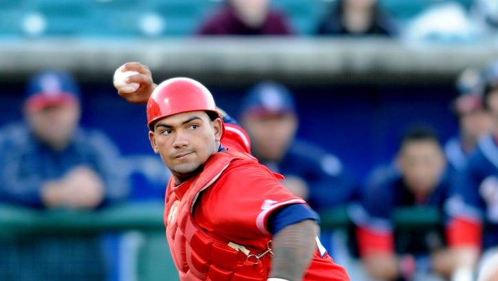 Lakewood BlueClaws catcher Deivi Grullon, shown last season, drove in an RBI single that would be the winning run against  the Kannapolis Intimidators on Wednesday, July 20.