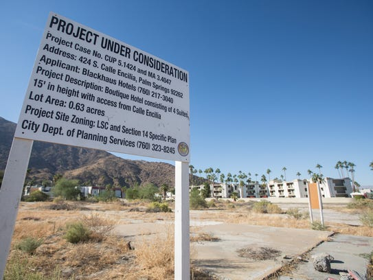 The site of a proposed new hotel on the southwest corner of S. Calle Encilla and Saturnino Road in Palm Springs.