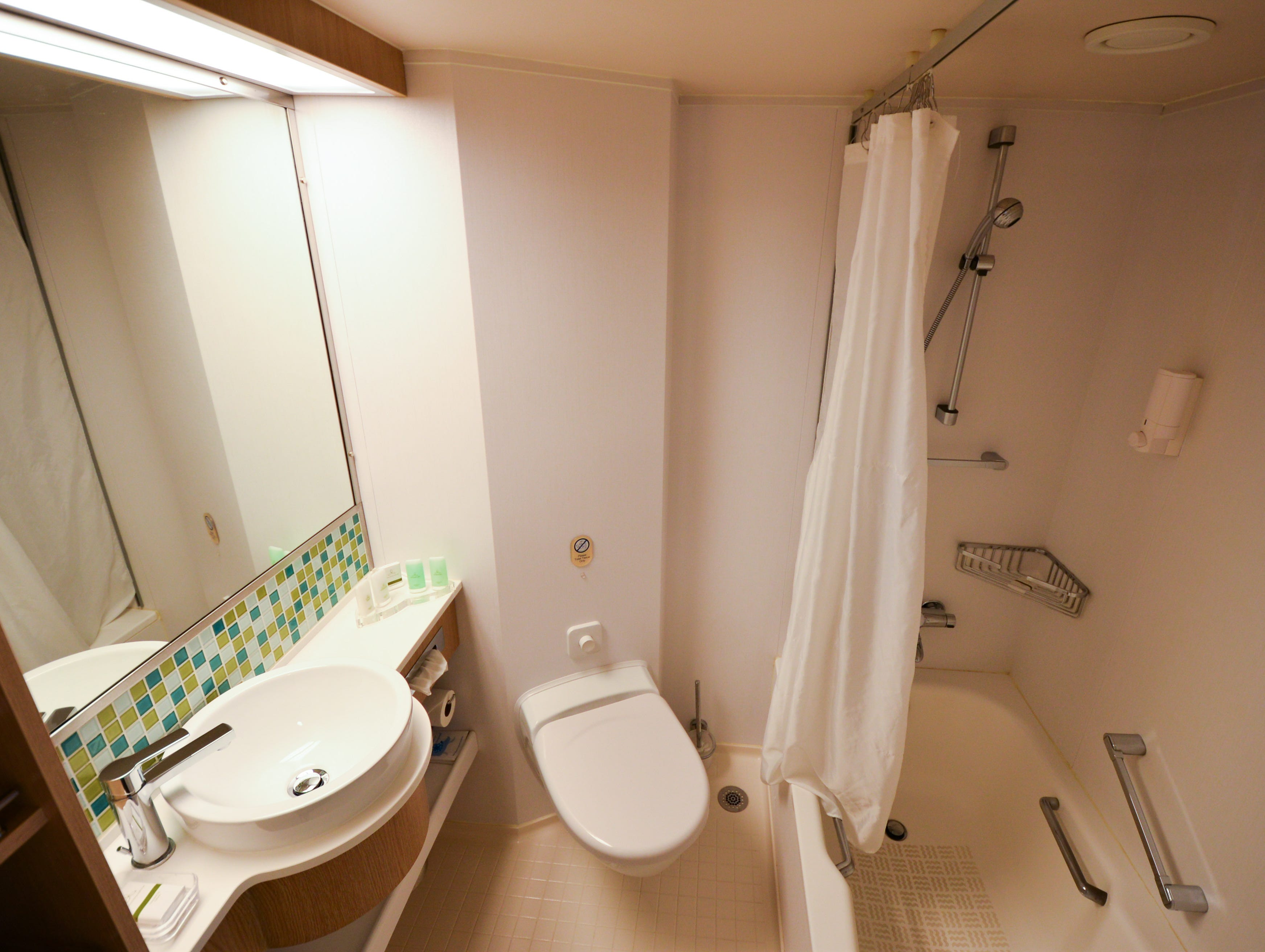 Junior suite bathrooms include bathtubs, which aren't found in standard Ocean View cabins.