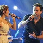 "Charles Esten and Clare Bowen from the TV series ""Nashville"" perform during NHL Fan Fair in the Music City Center."