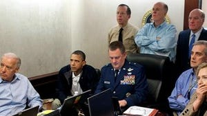 The White House situation room during the Osama bin Laden raid.