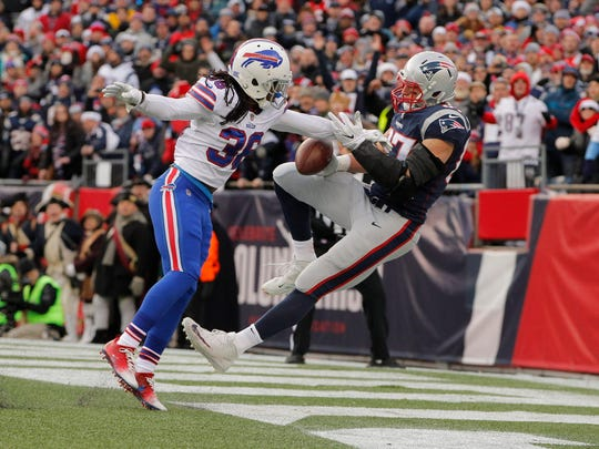 Buffalo's Trae Elston was flagged for interference on New England's Rob Gronkowski in Week 16. The 29-yard penalty put the ball on the 1, and the Patriots scored the go-ahead TD on the next play.