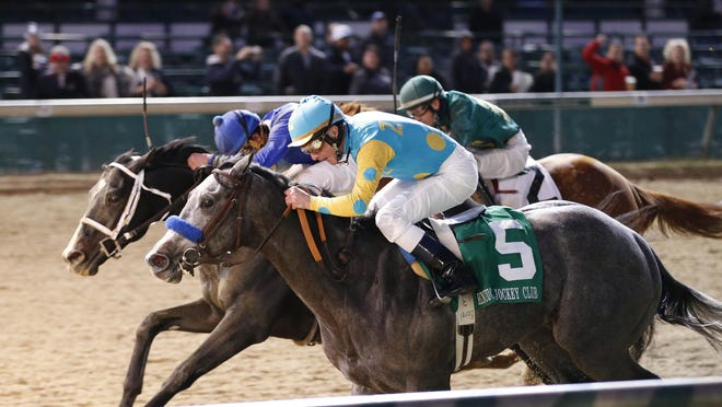 Calvin Borel won last fall's Grade II Kentucky Jockey Club Stakes on El Kabeir (#5). he was to ride the colt in the Kentucky Derby, but El Kabeir was scratched with what was described as a foot bruise.