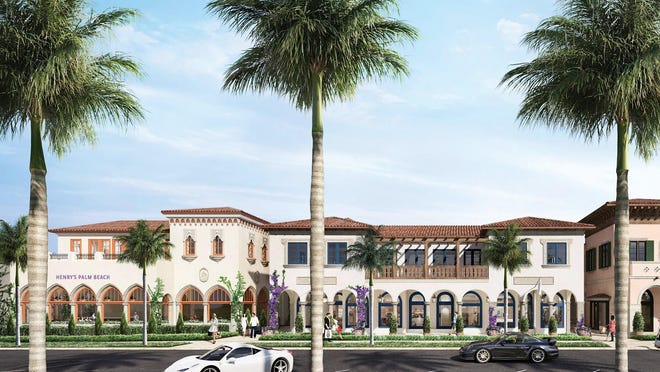 Henry's Palm Beach, far left, is slated to open this winter as part of the mixed-use development nearing completion along Royal Poinciana Way.