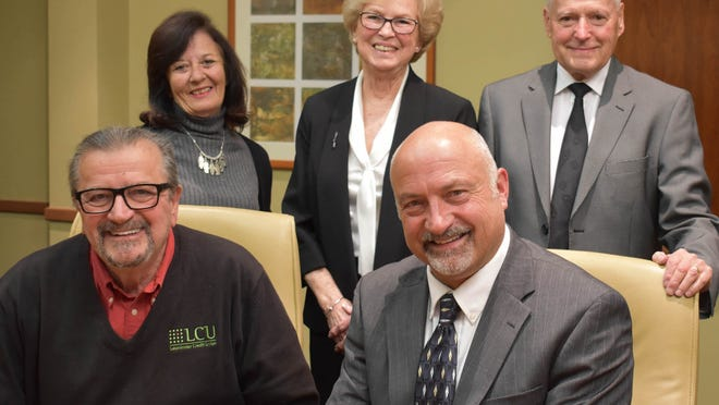 Front row, from left, Chairman of the Board Guilio G. Greco and Vice Chairman Michael J. Sauvageau; and back row, from left, Assistant Treasurer Joyce A. LaFleur, Treasurer Nancy L. Graves and Clerk Joseph V. Quintal.