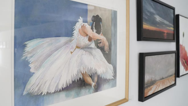 """A trio of paintings, some of which were completed by Jill Shaffer, director of the Adrian Center for the Arts' 2-D programming, are on display as part of the ACA's current exhibit, """"Thursday Painters."""" The exhibit recognizes the local art groups of Lenawee County, spanning from the 1950s to the present day. """"Thursday Painters"""" is open to the public through Feb. 19."""