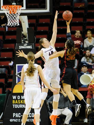 No. 13 ASU must contend with 6-6 center Ruth Hamblin when it hosts No. 9 Oregon State on Sunday.