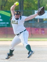 Mardela picther Kalie Adkins (14) throws to the plate