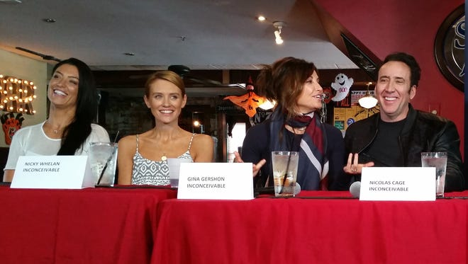 """The cast of """"Inconceivable"""" talks to the media about the Cincinnati-based film at the Village Tavern in Montgomery on Tuesday."""