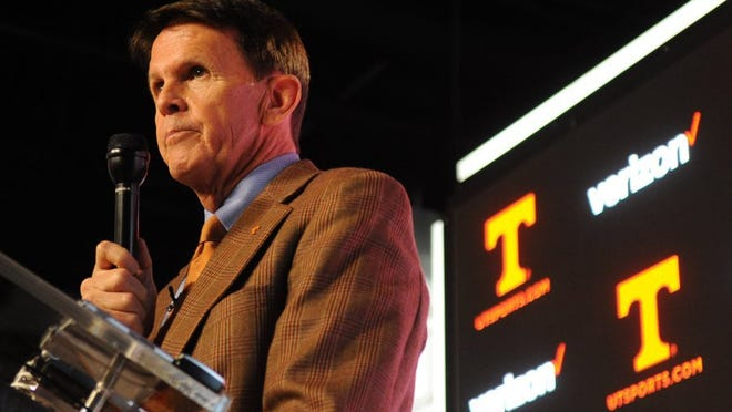 Athletic director Dave Hart listens to questions during a press conference at University of Tennessee's Ray & Lucy Hand Digital Studio in Knoxville on Thursday, Feb. 25, 2016. (ADAM LAU/NEWS SENTINEL)