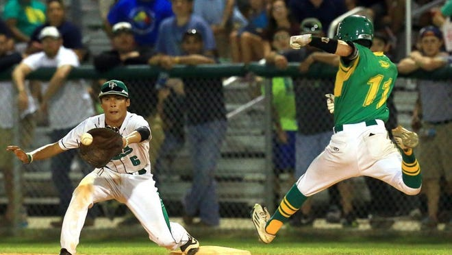 GABE HERNANDEZ/CALLER-TIMES Banquete's R.J. Rios catches the ball to force out Bishop's Tristian Trevino during Game 1 of the Region IV-3A final series on Wednesday at Cabaniss Field. Banquete leads the three-game series 1-0.