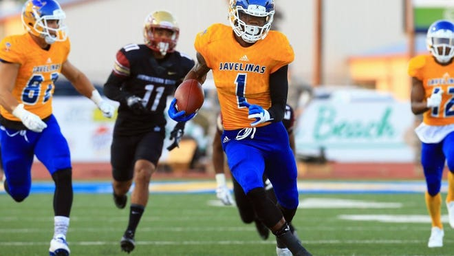 GABE HERNANDEZ/CALLER-TIMES Javelinas' Anthony Autry runs downfield against Midwestern State last week. The Javelinas will take on defending conference champion Texas A&M-Commerce on Saturday.