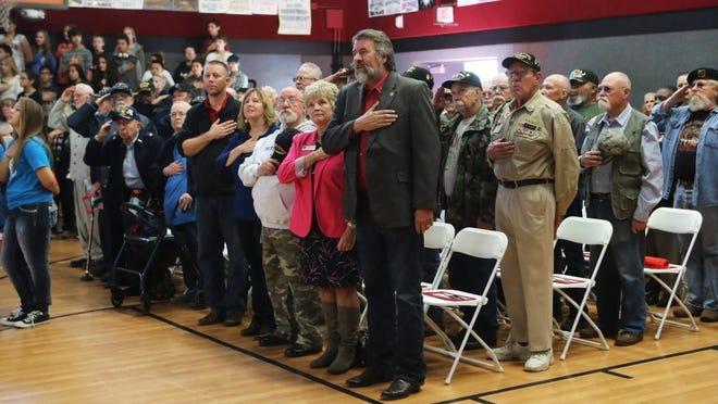 Rep. Doug LaMalfa participates in Mistletoe School's Veterans Day celebration a few years ago.