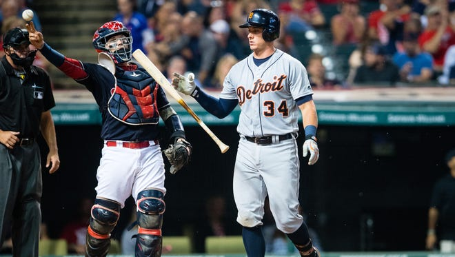 James McCann of the Detroit Tigers reacts after striking out against the Cleveland Indians on Sept. 16, 2016, in Cleveland, Ohio.