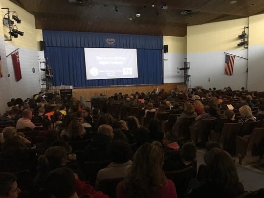 Parents and students attend a forum on responsible technology use in West Milford on March 20, 2017.