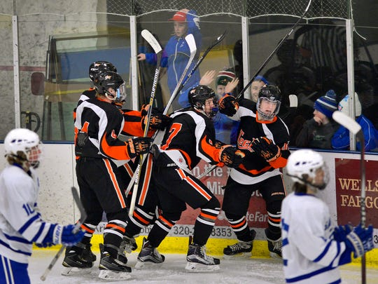 St. Cloud Tech players celebrate a goal in the first period of their Sect. 6A boys hockey playoff game against Sartell Tuesday night, Feb. 16 at Bernick's Arena.