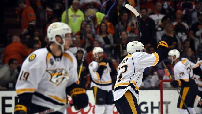 Nashville Predators center Mike Fisher (12) celebrates at the end of game seven of the first round of the 2016 Stanley Cup Playoffs against the Anaheim Ducks at Honda Center. The Predators defeated the Ducks 2-1 to win the series 4-3.