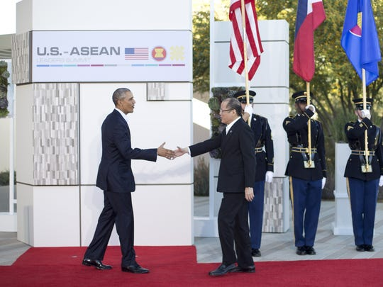 Pablo Martinez Monsivais, AP President Barack Obama greets Philippine President Benigno Aquino III, right, at a meeting of ASEAN, the 10-nation Association of Southeast Asian Nations, at the Annenberg Retreat at Sunnylands in Rancho Mirage in February 2016.