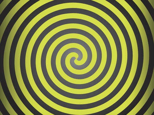Hypnosis yellow spiral. Op Art