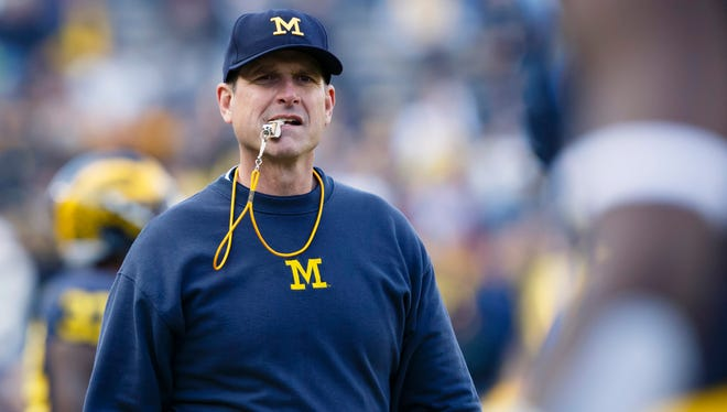 Michigan Wolverines head coach Jim Harbaugh had a parting thoughts for players at his camp: Show up on time.