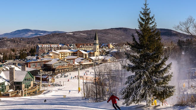 View of Stratton Mountain Base Lodge and village.