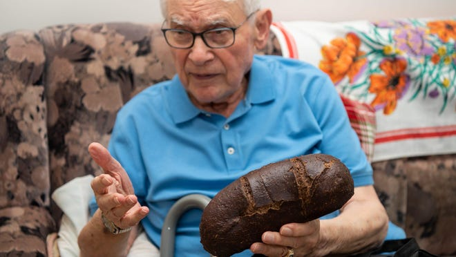 Ernie Gross, of Philadelphia, recalls his story of survival, Friday, July 31, 2020, as he describes living on small rations of bread and potatoes during his captivity at Auschwitz-Birkenau and Dachau.
