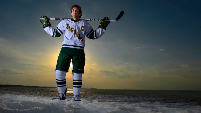 Ashwaubenon's Matt Berkovitz, Press-Gazette Media's hockey player of the year, was chosen by the Anaheim Ducks in the fifth round of the NHL Entry Draft on Saturday. Berkovitz is shown along the bay of Green Bay on Sunday, March 30, 2014.
