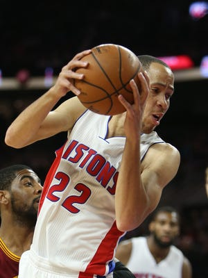 Pistons forward Tayshaun Prince rebounds against the Cleveland Cavilers during the first period of the Pistons' 102-93 loss Tuesday at the Palace.