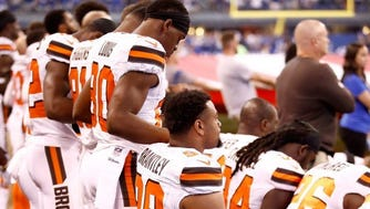 The Cleveland Browns during the national anthem on Sept. 24, 2017, in Indianapolis.