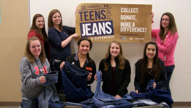 Silverland Middle School students recently collected 331 pairs of jeans for Teens for Jeans. Pictured are, front row, from left, Auburn Mortenson, Chloe Ramirez, Macie Kirk and Fatima Ortega and, back row, from left, Hannah Curtis, Gracie Silva and Alexxus Star.