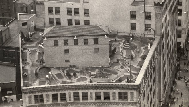 A 18-hole Tom Thumb miniature golf course sat on top of the Test Building in Downtown Indianapolis in the late 1920s.
