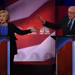 Democratic presidential candidates Hillary Clinton  and Bernie Sanders participate in the NBC News -YouTube Democratic Candidates Debate last month.