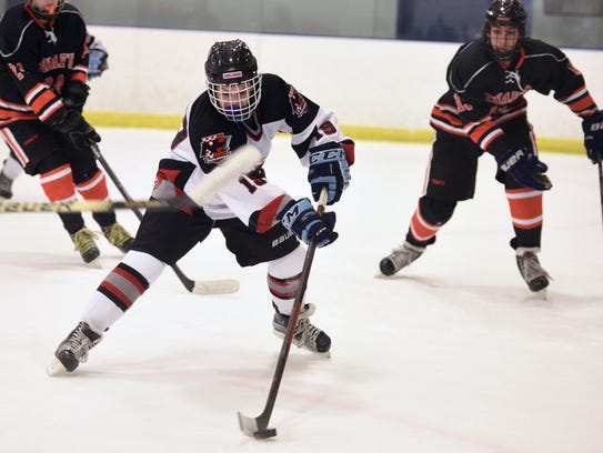 James Cerepak (19) tallied a goal and an assist in Tuesday's Big North Gold Cup semifinal win over Mahwah at Ice Vault in Wayne.