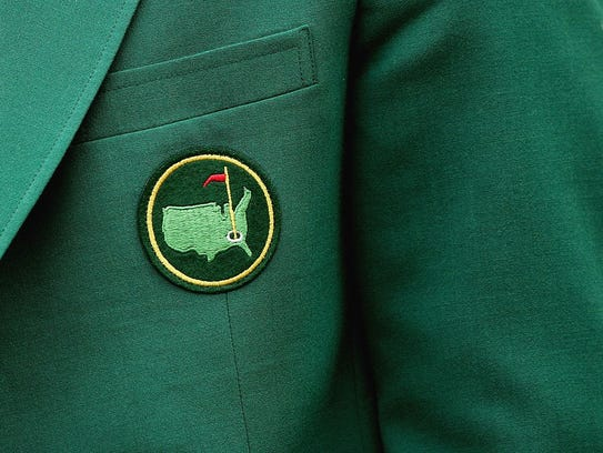A close-up of a green jacket during practice for The