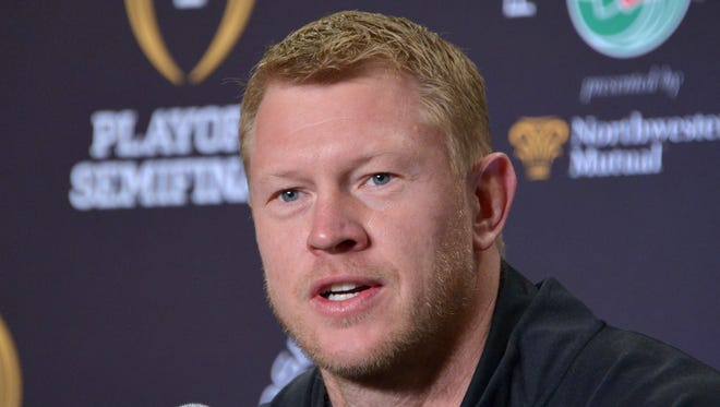 Dec 30, 2014; Los Angeles, CA, USA; Oregon Ducks offensive coordinator Scott Frost at press conference at the L.A. Hotel Downtown in advance of the 2015 Rose Bowl. Mandatory Credit: Kirby Lee-USA TODAY Sports