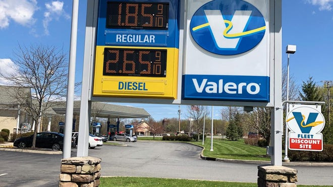 A Valero station at Route 17K in the Town of Newburgh was selling gas for as low as $1.85 per gallon. Gas prices in the region have dropped 50 cents per gallon or more over the past two months, and by Saturday some signs were showing prices below $2 a gallon.