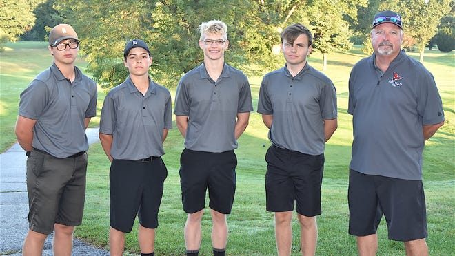 Members of the 2020 Sandy Valley boys golf team are (left to right) Connor Ritter, John Wood, Zach Smith, Seth McCaulley and Head Coach Gary Offenberger.