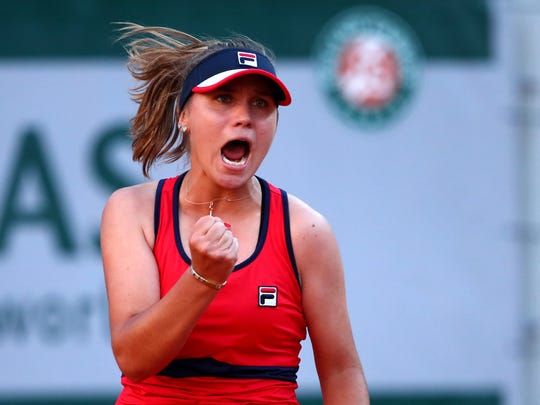 Sofia Kenin celebrates during her third-round match against Serena Williams.