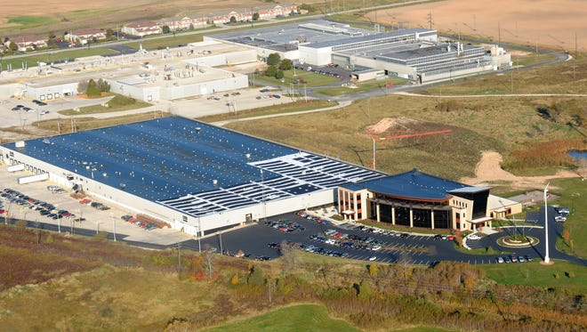 An aerial photo shows the Orion Energy campus in Manitowoc.