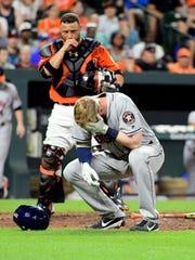 Houston Astros third baseman Colin Moran (19) reacts