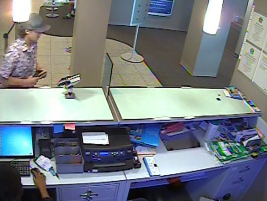 "Authorities said this surveillance photo shows a robbery at a Citibank branch in Fort Lauderdale.  Brandon Venditti, also known as the ""Shaky Bandit,"" is a suspect, authorities said."