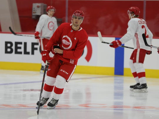 Detroit Red Wings prospect center Joe Veleno take part