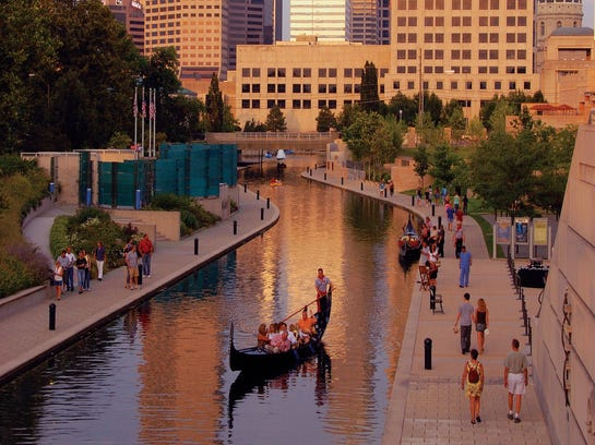TEN GREAT INDY TRAVEL SITES --  The Central Canal passes through downtown Indianapolis, offering open space for walking ,as well as for boating and gondola rides.    HANDOUT Credit: VisitIndy.com [Via MerlinFTP Drop]