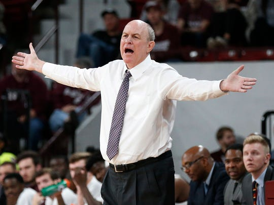 FILE - In this Dec. 19, 2018, file photo, Mississippi State head coach Ben Howland complains about a call by the officials during the second half of an NCAA college basketball game against Wofford in Starkville, Miss. No. 19 Mississippi State seems intent on making the same kind of impact Auburn and Tennessee did last season. The Bulldogs returned their top six scorers from a team that reached the NIT semifinals last season, and they have responded by winning 11 of their first 12 games. (AP Photo/Rogelio V. Solis, File)