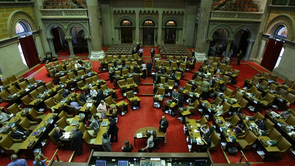 The New York State Assembly chamber at the State Capitol in Albany.