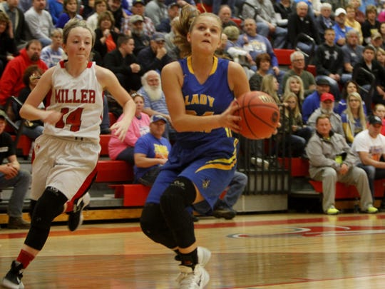 Crane senior Kylee Moore scored 15 points in a playoff win over Miller March 2 that sends Crane to the state quarterfinal playoffs.