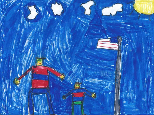 Dear Derek,   I'm thankful for you because you are serving our country, and I miss you. I hope you can come to my house. I appreciate you because you serve our country.  Tyler Opthof  Grade 3, Highland Elementary School